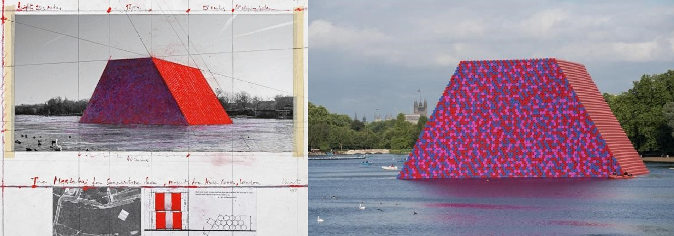 Christo: The Mastaba for Serpentine Lake, Project for Hyde Park, London; Collage 2017 Photo: André Grossmann © 2017 Christo